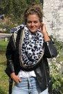 Sjaal omslagdoek luxury zwart grijs leopard