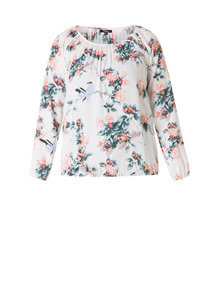 Ivy Beau blouse white flower